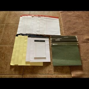 New Writing Pads & Green Letter Size File Folders